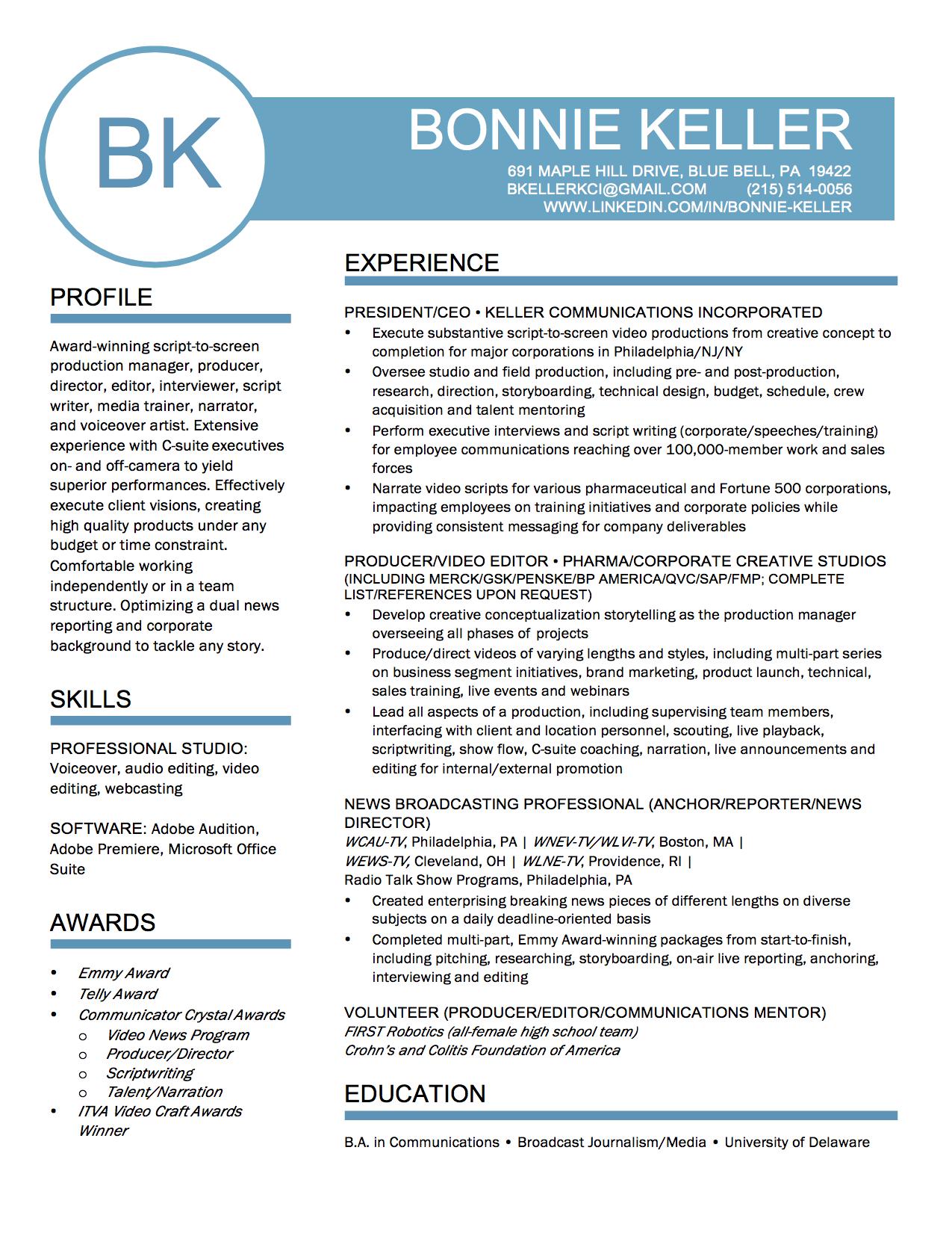 Resume | Keller Communications Inc